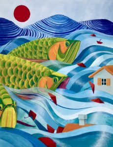 """Chelsea Tang's """"Sea of Corruption"""" piece depicting giant green fish in waters submerging houses. In the background are blue hills and a red sun in the sky."""